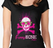 FunnyBONE Pink Skull Women's Fitted Scoop T-Shirt