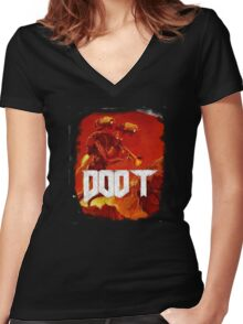 Doom, Doot Women's Fitted V-Neck T-Shirt