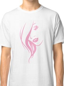 Pink Girl Face Portrait Classic T-Shirt
