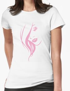 Pink Girl Face Portrait Womens Fitted T-Shirt