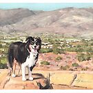 Bernese mountain dog southwest watercolor by Mike Theuer