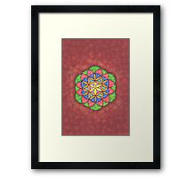 1204 - Flower of Life on Brown and Snowy Background Framed Print