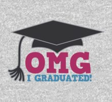 OMG I graduated with mortar board graduation hat pink Kids Tee