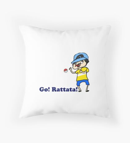 Youngster Joey sends out Rattata Throw Pillow