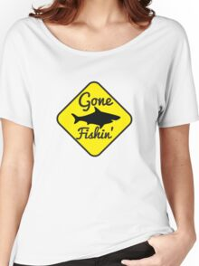 Gone Fishing yellow sign with a shark Women's Relaxed Fit T-Shirt