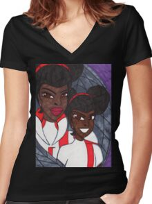 Which One is Real Women's Fitted V-Neck T-Shirt