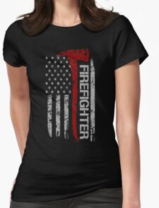 Firefighter American Pride Flag T-Shirt Womens Fitted T-Shirt