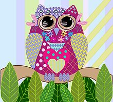 Cute Patterns Owl Pillow by walstraasart
