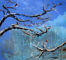 Red Bird in Winter by dandelionlady