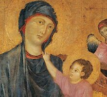 Madonna and Child Enthroned with Two Angels by Bridgeman Art Library