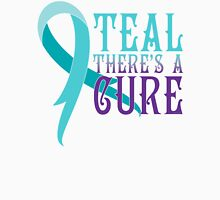 Ovarian Cancer Awareness Teal There's A Cure Unisex T-Shirt