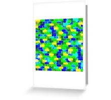 BRICK WALL SMUDGED (Blues, Greens & Yellows)-(9000 x 9000 px) Greeting Card