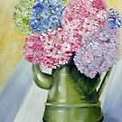 Hydrangeas in a jug  by Antionette