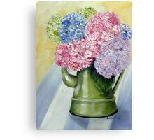 Hydrangeas in a jug  Canvas Print