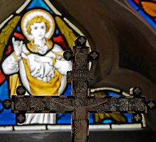Iconic cross and stained glass by buttonpresser