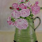 Pink roses in enamel jug by Antionette