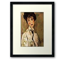Portrait of Woman with Black Tie Framed Print