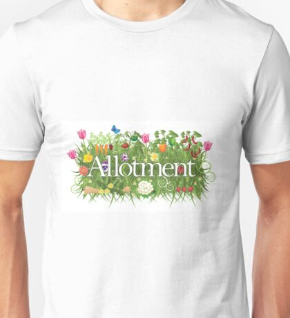 Allotment banner with grass, flowers and vegetables Unisex T-Shirt