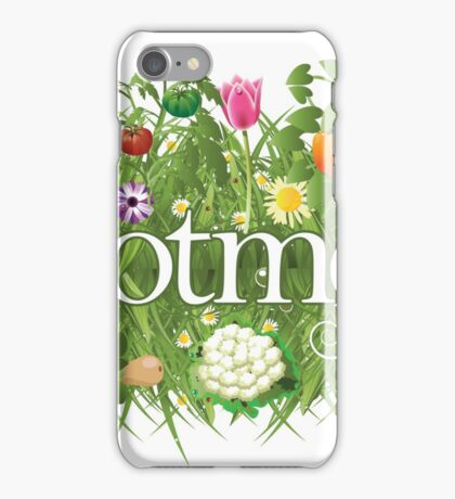 Allotment banner with grass, flowers and vegetables iPhone Case/Skin