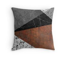 Marble, Granite, Rusted Iron Abstract Throw Pillow