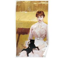 Lady with Black Kitten Poster