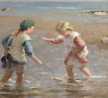 Playing in the Shallows by Bridgeman Art Library