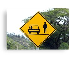 Cars and Cyclists Share the Road Sign Canvas Print