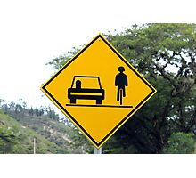 Cars and Cyclists Share the Road Sign Photographic Print