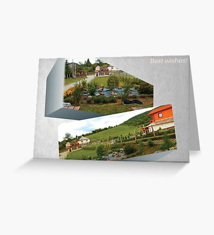 3D Yard At the Mountains Greeting Card