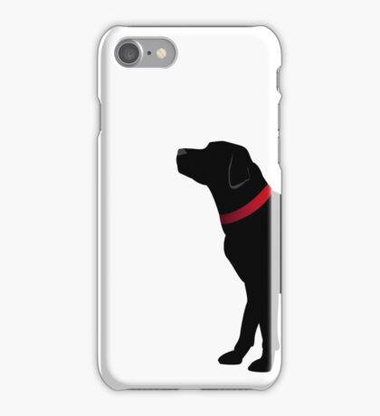 Black Labrador with Red Collar iPhone Case/Skin