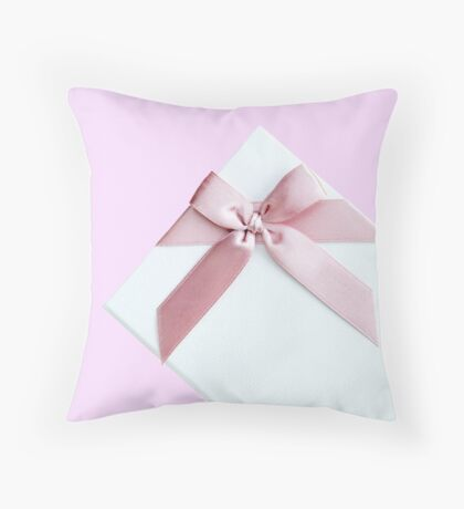 White Gift Box With Pink Bow Throw Pillow