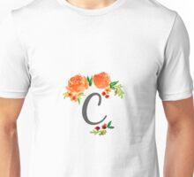 Floral Watercolor Monogram C Unisex T-Shirt