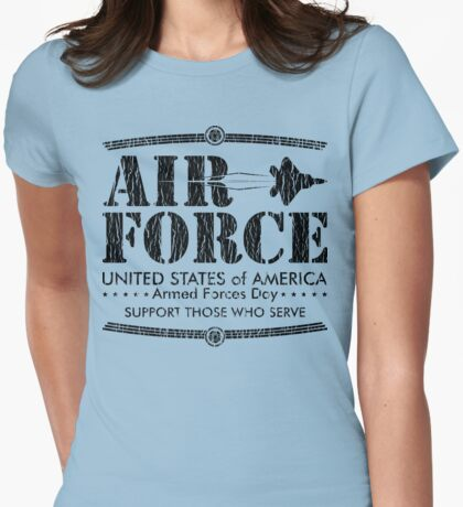 Armed Forces Day - USAF Air Force Black Womens Fitted T-Shirt