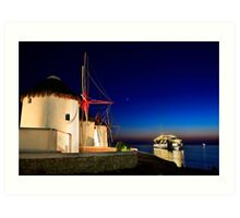 The windmills of Myconos Art Print