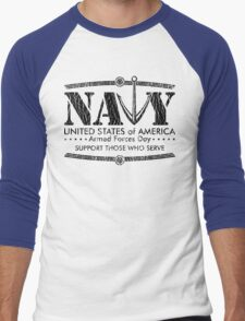 Armed Forces Day - Navy Black Men's Baseball ¾ T-Shirt
