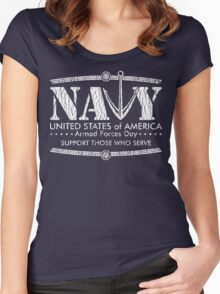 Armed Forces Day - Navy White Women's Fitted Scoop T-Shirt