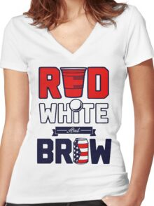 RED-WHITE & BREW Women's Fitted V-Neck T-Shirt