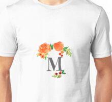 Floral Watercolor Monogram M Unisex T-Shirt