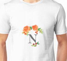 Floral Watercolor Monogram N Unisex T-Shirt