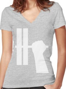 WORKOUT BAR SHIRT-WHITE Women's Fitted V-Neck T-Shirt