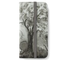 Strange Flowers, surreal landscape, ink painting iPhone Wallet/Case/Skin
