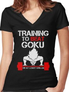 Training to beat Goku Women's Fitted V-Neck T-Shirt
