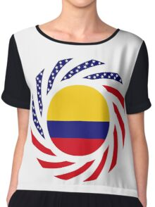 Colombian American Multinational Patriot Flag Series Chiffon Top