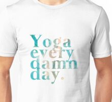 Yoga Every Damn Day in Turquoise and Peach Unisex T-Shirt
