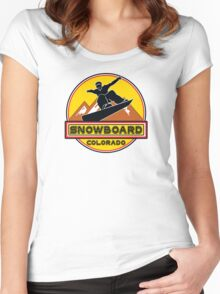 SNOWBOARD COLORADO Skiing Ski Mountain Mountains Snowboarding Women's Fitted Scoop T-Shirt