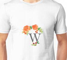 Floral Watercolor Monogram W Unisex T-Shirt