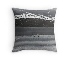 Rocky Winter Nocturne original painting Throw Pillow