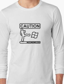 caution this is sparta linux Long Sleeve T-Shirt