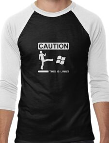 caution this is sparta linux Men's Baseball ¾ T-Shirt