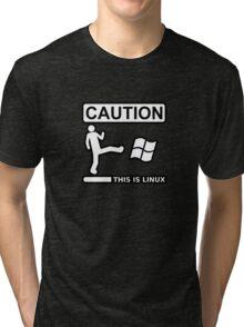 caution this is sparta linux Tri-blend T-Shirt